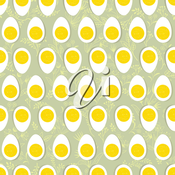 Eggs seamless ornament. Easter food tile pattern. Floral doodle texture and half egg with yolk