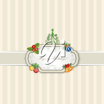 Christmas icons set. Happy Winter Holiday background. Gift ornamental design elements
