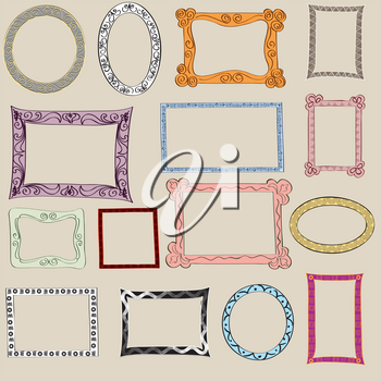 Set of cute frame. Victorian ornaments photo frames in vector