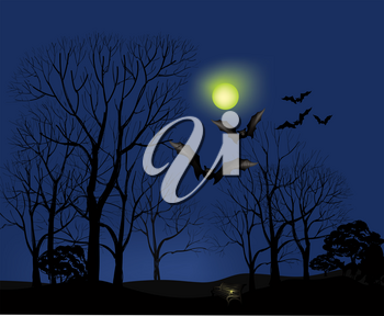 Halloween greeting card. Holiday Halloween landscape background