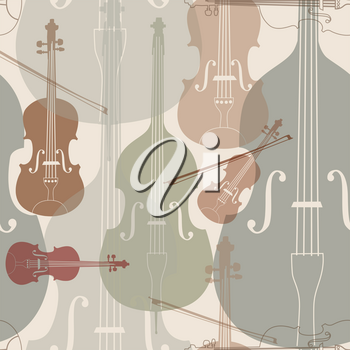 Abstract Music Background. Seamless texture with musical instruments. Musical tiled pattern.