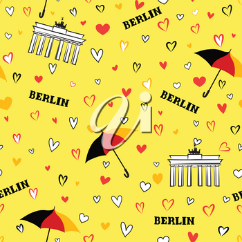 Travel Berlin city seamless pattern. German vacation wallpaper. Landmark of Germany background