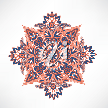 Floral pattern. Arabic ornament with fantastic flowers and leaves. Flourish tiled oriental ethnic background.  Wonderland motives of the paintings of ancient Indian fabric patterns.