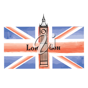Grunge UK flag with London famous Westminster abbey tower. Travel Great Britain  background with painted UK flag. English landmark Big Ben