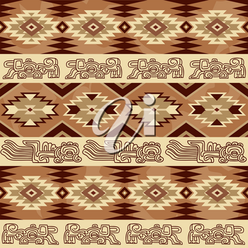 Abstract geometric seamless pattern with aztec traditional ornament. Ethnic tribal ancient background