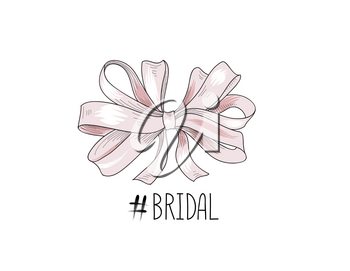 Bow drawn. Wed sign. Gentle cream pink bow ribbon isolated with tag Bridal