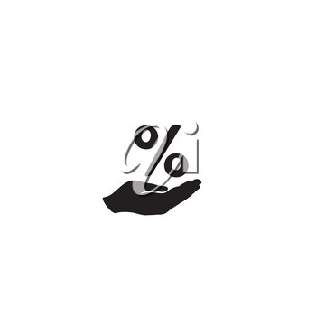 Percentage sign in hand silhouette. Business percent icon