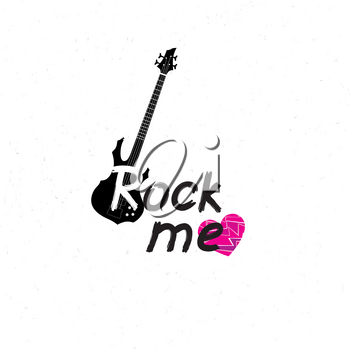 Rock music banner. Musical sign background. Rock lettering with heart and guitar. Hard Rock label.
