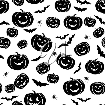 Happy Halloween seamless pattern. Holiday party background with bat, pumpkin, spider