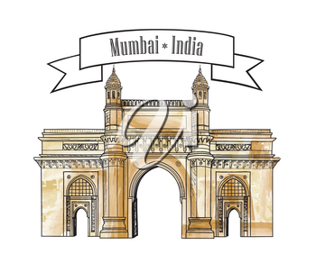 Mumbai city gate way icon, India. Famous indian hand drawn Maharashtra landmark. Travel India background