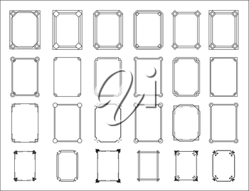 Retro Frame set. Decorative ornamental frames with floral ornate ornament. Vintage rectangle border collection. Isolated geometric devider icons vector set