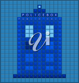 Police box template. Old video game square background. Vector illustration.