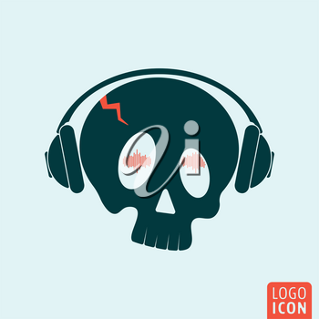 Skull icon. Skull logo. Skull symbol. Crazy skull with headphones icon isolated, minimal design. Vector illustration