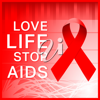 World Aids Day. Red ribbon symbol. Love life, stop aids - poster. Vector illustration