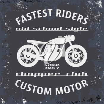 T-shirt print design. Motorcycle chopper club vintage stamp. Printing and badge applique label t-shirts, jeans, casual wear. Vector illustration.