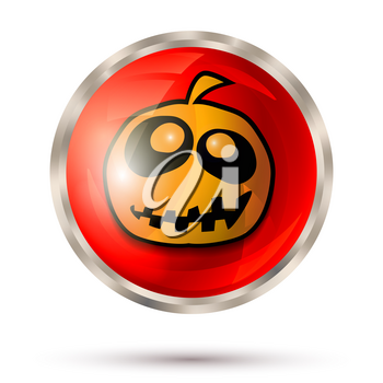 Halloween button. Halloween pumpkin icon. Vector illustration