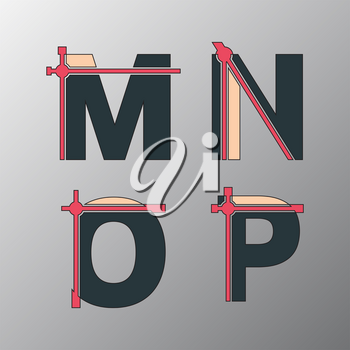 Alphabet font template. Set of letters M, N, O, P logo or icon. Vector illustration