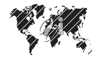 Diagonal stripe world map isolated on white background. Vector illustration.