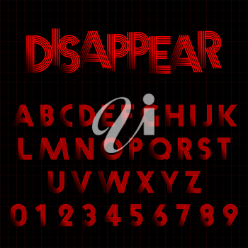 Alphabet font template. Set of letters and numbers disappear design. Vector illustration.