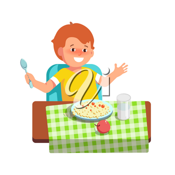 Vector illustration of happy kid sitting at the table and eats complementary food in flat style on white background. Meal in a kindergarten or home