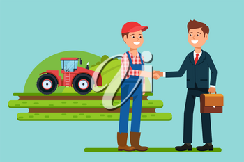 The meeting businessmen shaking hands farmer . Greeting to the partner and business handshake. Stock vector illustration flat style