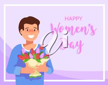 Flat vector illustration of a smiling young man holding a bouquet of spring flowers. Greeting card March 8 International Women's Day