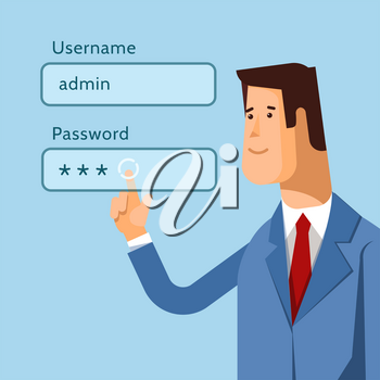 Vector illustration admin pushing username and password fields login box
