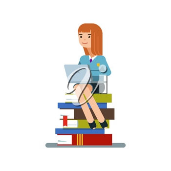 Young teen woman or student sitting on a stack of books with laptop isolated on white background. Vector illustration flat design