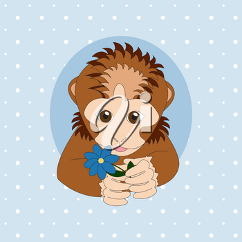 Brown monkey holding a blue flower. Print for cards, children's books, clothes