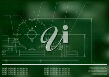 Mechanical drawings on a green and white background. Engineering illustration. Vector. Points