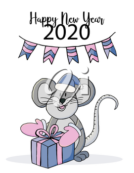 Happy new year. Cute mouse or rat, symbol of 2020. New Year greeting card, flyer, banner. Holiday poster, invitation