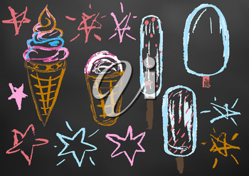 Children's drawing color chalk on a blackboard. Design elements of packaging, postcards, wraps, covers. Sweet children's creativity. Ice cream, sweets, summer, stars