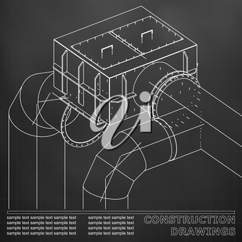 Drawings of steel structures. Pipes and pipe. 3d blueprint of steel structures. Black background. Grid