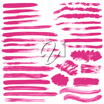 Collection of pink paint, ink, brush strokes, brushes, lines, grungy. Waves, circles. Dirty elements of decoration, boxes frames Vector illustration Freehand