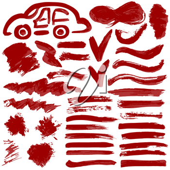 Collection of red ink, ink, brush strokes, brushes, lines, grungy. Waves, Messy decoration elements, boxes, frames. Vector illustration Isolated over white background Freehand