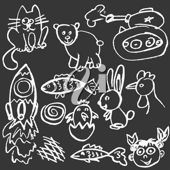 Cute childish drawing with white chalk on blackboard. Pastel chalk or pencil funny doodle style vector. Tank, rocket, cat, chick