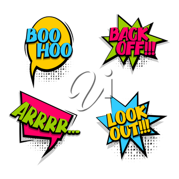 Back off set colored comic text sound effects halftone pop art style. Vector bubble icon speech phrase, cartoon exclusive font burst, sounds dot background. Comics book balloon