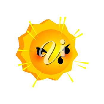 Vector illustration shout sunny smile icon. Face emoji yellow icon. Smile cute funny emotion face on isolated background. Happy feelings, expression for message, sms.