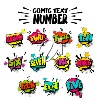 Comic colored funny collection number, count, school, badge cloud pop art vector style. Colorful message bubble speech comic cartoon expression illustration. Comics book background template.