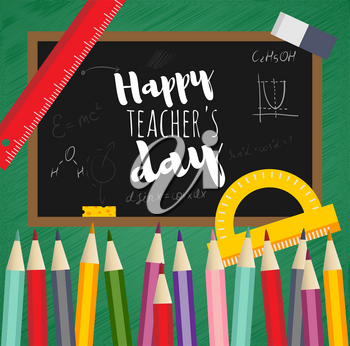Greeting card happy teachers day. Black Board, written chalk, mathematical formula, chemical reaction, vector flat design. Concept template school subjects. Insulated pencil, eraser, protractor, ruler