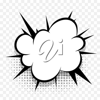 Comics speech bubble for text pop art design. White empty dialog cloud for text message halftone shadow. Comics sketch explosion splash comic book text style. Wow effect cartoon vector elements