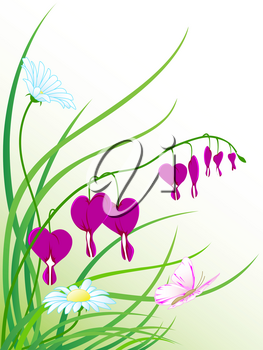 floral background with green grass, chamomile flowers and flying  butterfly