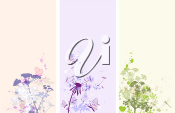 Vertical vector floral banners with butterflies and flowers