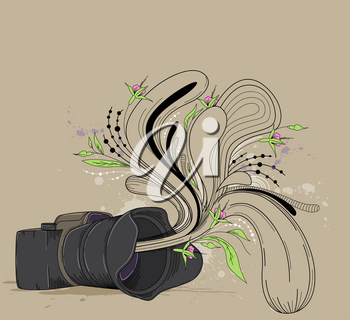 Abstract vector background with camera and flowers