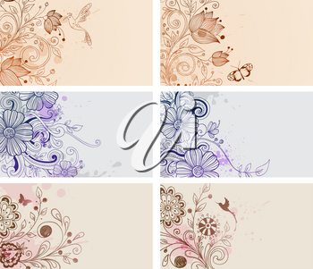Vector vintage hand drawn cards with flowers and butterflies