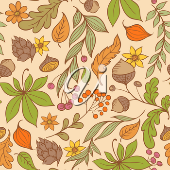 Vector autumn seamless pattern with leaves and flowers