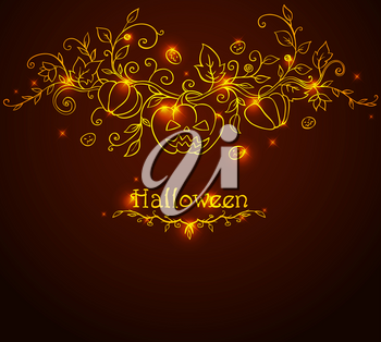 Hand drawn vector Halloween background with pumpkins