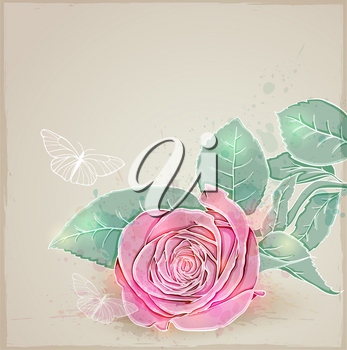 Vector floral background with pink rose and butterflies