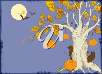 Halloween vector background with tree and pumpkins
