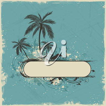 Vintage vector summer background with palms and toucan